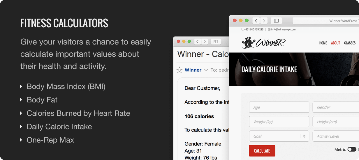 Winner Fitness Calculators