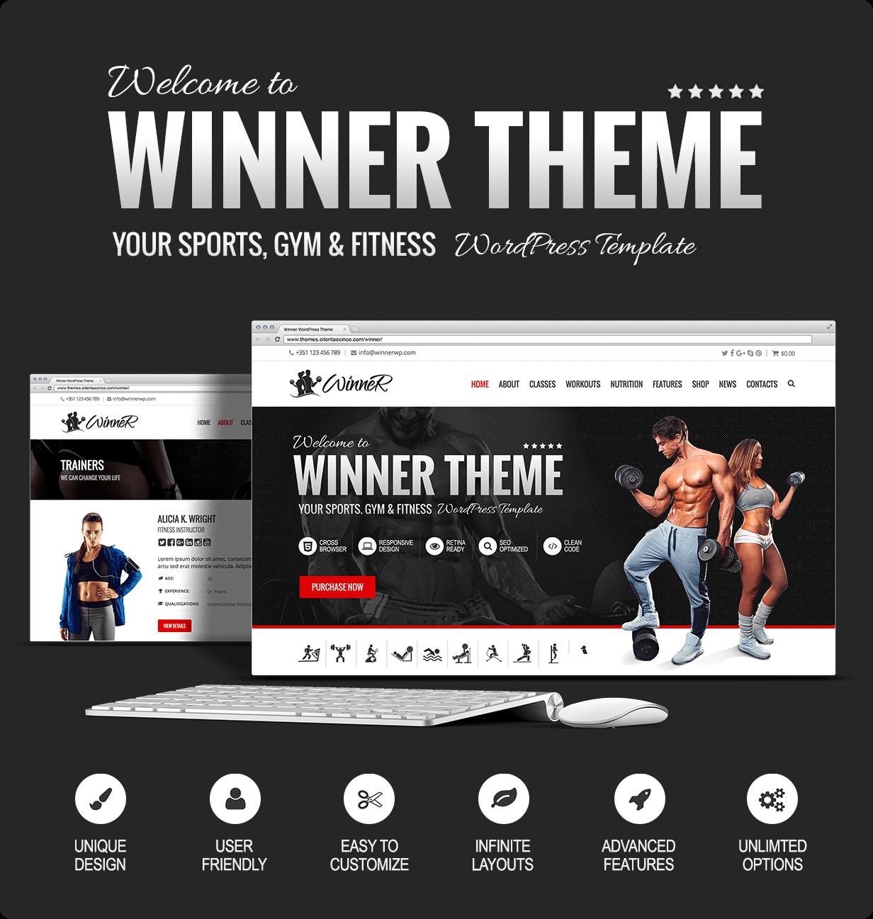 Winner - Sports, Gym & Fitness WordPress Theme by oitentaecinco ...